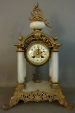 19thC Antique FRENCH Alabaster VICTORIAN S. Marti PORTICO Style MANTEL Old CLOCK