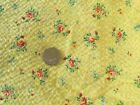 "50s/60s Seersucker Yellow Print Fabric W Orange Roses 1 Yd 32"" x 36"" W NOS VTG"