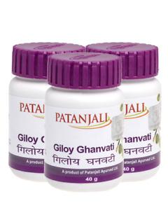 3 x Patanjali Ayurvedic Giloy Ghanvati 40gm for General Fever,Immunity
