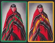 2 Single VINTAGE Swap//Playing Cards INDIAN MEN WORKING /'CRAFTSMAN ME-8-3/' GRN//RD
