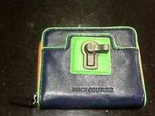 "Juicy Couture New & Genuine Blue & Green Leather Zip Wallet With ""JC"" Logo"