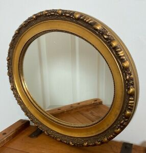 VINTAGE ANTIQUE ROCOCO STYLE OVAL GILT FRAMED WALL MIRROR