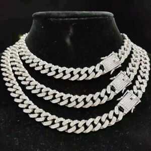 12mm Mens Stainless Steel Necklace Silver Plated Curb Cuban Link Chain Necklace