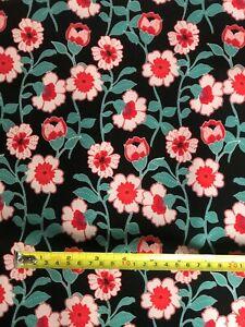 Poppy Stretch Scuba Knit Fabric ~ Black Background ~ by the Metre  New