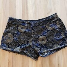 Free People Black Navy Gold Jaquard Shorts Size 2