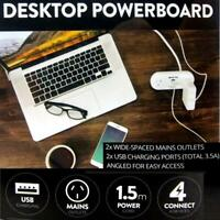 Desktop Power Board Angled Stand 2 x Wide Spaced Outlets + USB Points Powerboard