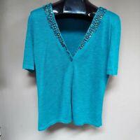 Jones New York Collection V-Neck Beaded Short Sleeve Cardigan Sweater Medium