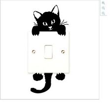 Black Cat Shaped Light Switch Wall Decal Two Part Sticker ()