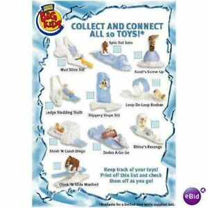 2002 ICE AGE BURGER KING KIDS MEAL TOYS - U PICK - COLLECT AND CONNECT THEM ALL
