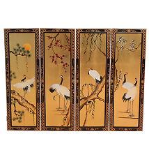 4 Dipinto A Mano su Oro Foglia Immagini Gru Mobili Orientali Cinesi