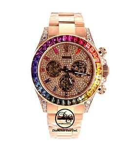 Rolex Daytona 116505 Rainbow Diamonds and Sapphires 18K Rose Gold Watch UNWORN
