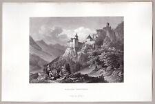 Trostburg Schloß, Waidbruck Südtirol Italien - Stich, Stahlstich 1863