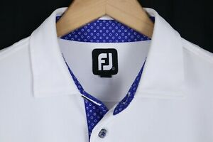 FootJoy FJ Mens sz Large White Golf Polo Short Sleeve Shirt