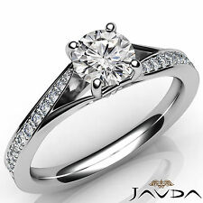 Pave Set Round Diamond Luminescent Engagement Ring GIA D SI1 Platinum 0.85Ct