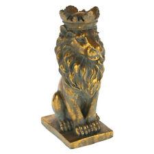 Löwe König Antik Gold 36 cm Groß 7 kg Statue Torwächter Zement Figur Krone