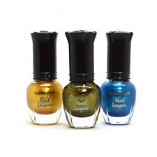 Kleancolor 3 Mini Nail Polish 5ml Metallic Yellow, Green Aqua Lacquer 3MINI28