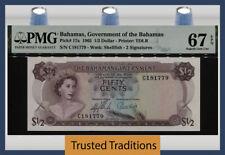 TT PK 17a 1965 BAHAMAS 1/2 DOLLAR QUEEN ELIZABETH II PMG 67 EPQ SUPERB GEM UNC!