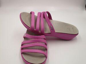 Crocs Size 10W Pink Wild Orchid Platinum Wedge Sandals Women's Shoes