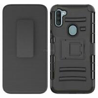 Samsung Galaxy A11 2020 Black Kickstand Holster Belt Clip Case+Screen Protector