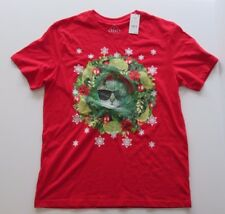 NWT-Men's Ugly Christmas Sweater Style T-Shirt-Lenticular Cat in Sunglasses-XL