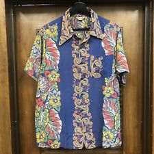"Vintage 1940'S ""Made In California� Vertical Rayon Hawaiian Shirt - Large"