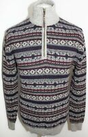 MANTARAY Mens Multi Coloured 100% Wool Patterned Warm Jumper Size M Brand New