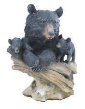 Realistic Black Bear & Two Cubs on a Rock & Stump Figurine Decor