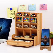 5-Tier Desk Organizer Pen Pencil Holder Woold Desktop Shelf Set With Drawers Kid