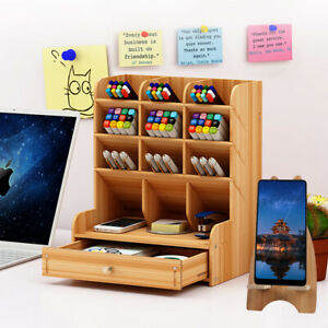 Wooden Pen Desk Organizer Drawer Desktop Office Holder Storage+Free Phone Holder