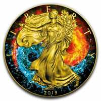 2019 Yin Yang - American Eagle 1oz .999 Gilded Colourised Silver Coin