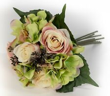 Rosenstrauß Rose Strauß Handstrauß Seidenblume Kunstblume 24 cm blau TC-61703 F6