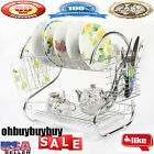 Chrome Kitchen Dish Cup Drying Rack Drainer Dryer Tray Cutlery Holder OrganizerY
