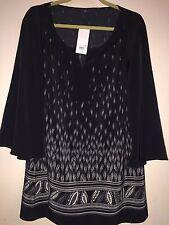 Ladies Tunic Top. Size 16. Black Multi. rrp: £35.