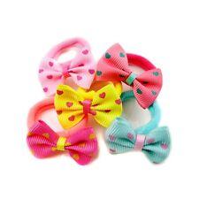 10pcs Printing Children Sweet Dot Ponytail Holder Hair Tie Rope Bow-knot