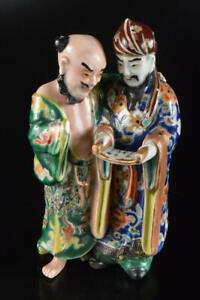 P7514: Japanese Old Kutani-ware Person sculpture ORNAMENTS object art work