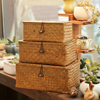 Rattan Box Seagrass Woven Basket Makeup Cosmetics Storage Holder Home Organizer