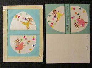 """EASTER Bunny Rabbits Running w/ Eggs 6x8"""" Greeting Card Art #2485 W/ card"""