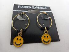 Orange Smile Face Dangling Hoop Metal Earrings Jordache One Pair Halloween