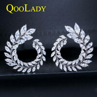 Shiny Cubic Zircon Olive Branch Leaf Marquise Cut Stud Earrings for Women Party