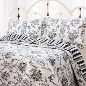 French Medallion Black 100% Cotton Quilt Set, Bedspread, Coverlet
