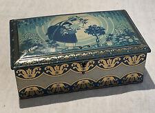 More details for vintage original old art nouveau tin lidded flower retro seed box storage metal