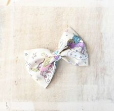 Pretty pastel white Unicorn rainbow cloud hair bow clip Kawaii pin up