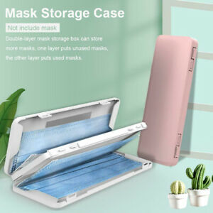 Face Mask Box Face maskHolder Double Layer Mask Storage Case With Mirror