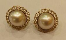 ORECCHINI  oro giallo lavorato  con  perla mabe'