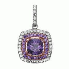 Amethyst Pendant Necklace .925 Sterling Silver CZ Pendant