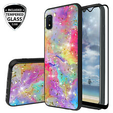 For Samsung Galaxy A10e Case, Marble Rainbow Glitter Bling TPU +Tempered Glass