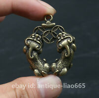 37MM Chinese Bronze Brass Animal Two Pixiu Pi Xiu Unicorn Wealth Amulet Pendant