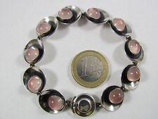 Armband N.E. From Denmark 925er Silber mit Rosenquarz rosa19 cm
