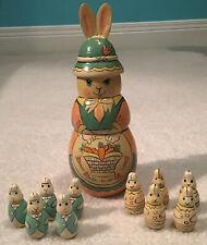 Vintage 11 pcs Rabbit And Bunnies Nesting Dolls Matryoshka Style
