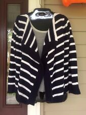 The Children's Place Girls Open Front Navy Blue White Striped Cardigan Sz L
